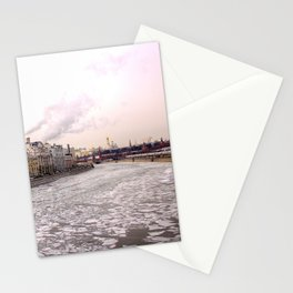 A view of spring ice floes on the Moscow river with Kremlin Stationery Cards