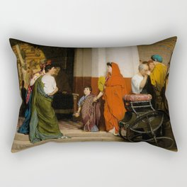 "Sir Lawrence Alma-Tadema ""Entrance of the Theatre (Entrance to a Roman Theatre)"" Rectangular Pillow"