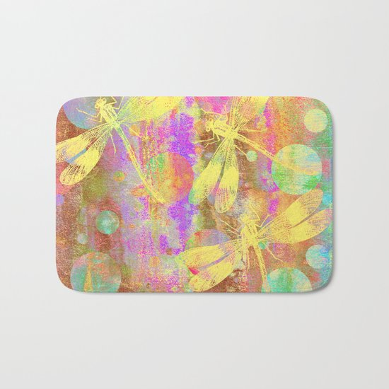 A Dragonflies and Dots Bath Mat