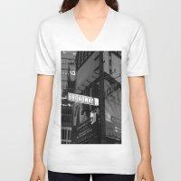 broadway V-neck T-shirts featuring  Broadway & W42nd St by Suzanne Kurilla