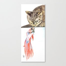Kitten & fish kiss Canvas Print
