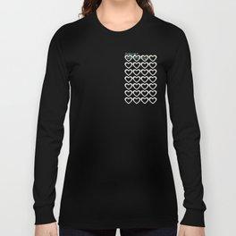 Cute Hearts Pattern Grey Long Sleeve T-shirt