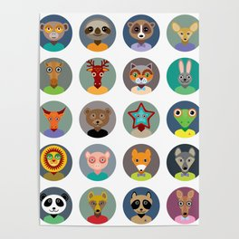 Set of animals faces circle icons set in Trendy Flat Style. zoo Poster