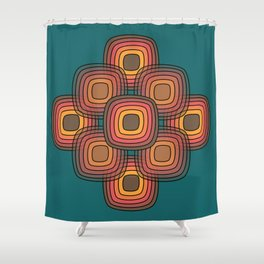Fire Pit Pebbles on deep green Shower Curtain