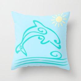 Dolphin Swimming Minimalist Art Throw Pillow