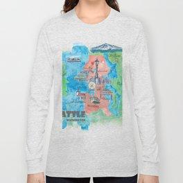 Seattle Washington Travel Poster Favorite Map Long Sleeve T-shirt
