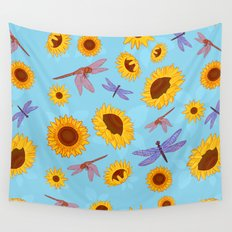 Sunflowers & Dragonflies Wall Tapestry