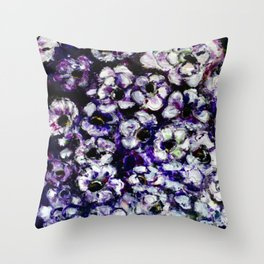 White Flowers on Purple Background Throw Pillow
