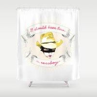 cowboy Shower Curtains featuring Cowboy by la belette rose