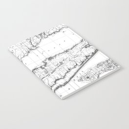 Vintage Map of Long Island New York (1842) BW Notebook