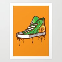 sneaker Art Prints featuring Green Sneaker by ArievSoeharto