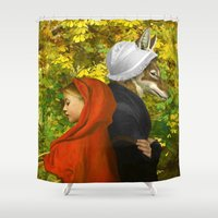 red riding hood Shower Curtains featuring Red Riding Hood by Diogo Verissimo