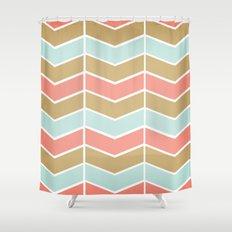 Mint.Coral.Gold Chevron Shower Curtain