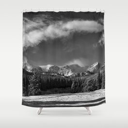 Rocky Mountan Park in Black and White Shower Curtain