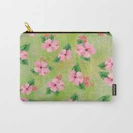 Tropical Flowers Malaysian Inspired Print Carry-All Pouch