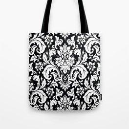 Damask Paisley Black and White Paisley Pattern Vintage Tote Bag