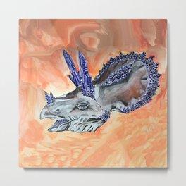 Triceratops Geode Metal Print