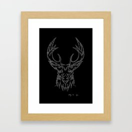 Stags head in one continuous line Framed Art Print