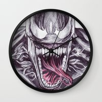 venom Wall Clocks featuring Venom by DeMoose_Art