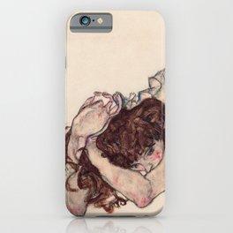 Egon Schiele - Kneeling Girl, Resting on Both Elbows iPhone Case