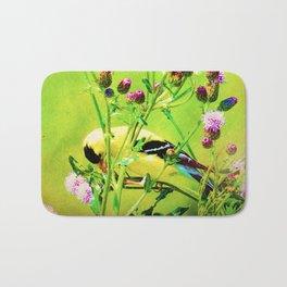 Goldfinch Yellow Bird Purple Flowers A101 Bath Mat