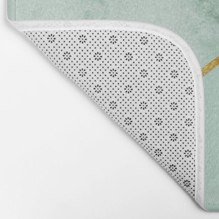Geometric Teal Marble Bath Mat