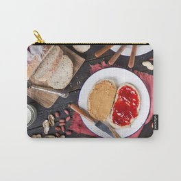 Peanut butter and jelly sandwich on a rustic table Carry-All Pouch