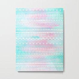 Hand Drawn African Patterns - Pastel Pink & Turquoise Metal Print