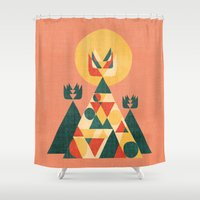 sunset Shower Curtains featuring Sunset Tipi by Picomodi