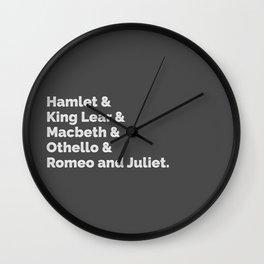 The Shakespeare Plays I Wall Clock