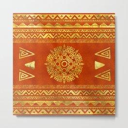 Gold Aztec Calendar Sun symbol Metal Print