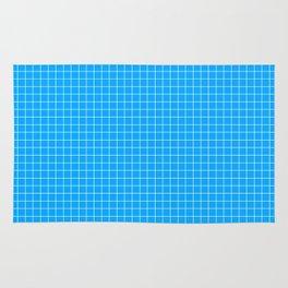 Blue Grid White Line Rug