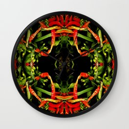 Chilli Pepper Paintography Pattern Wall Clock