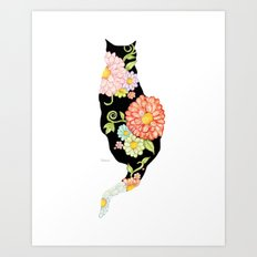 Exotic Floral Black Cat Silhouette Art Print