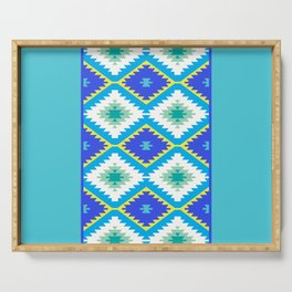 Turkish carpet yellow blue green. Patchwork mosaic oriental kilim rug Serving Tray