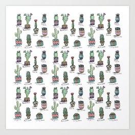 Cactus and Succulent Pattern Art Print