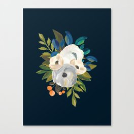 Midnight Florals - Blue & Cream Canvas Print