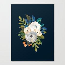 Midnight Florals - Blue & Cream Canvas Print