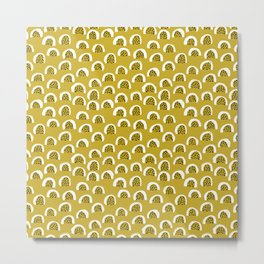 Sunny Melon love abstract brush paint strokes yellow ochre Metal Print