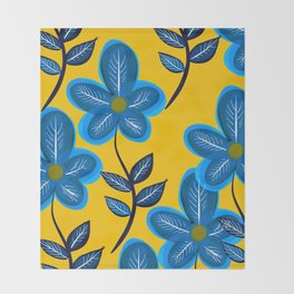 Blue Flowers and Yellow Pattern Throw Blanket
