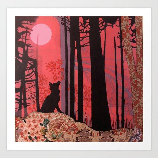 wolf (aka lycanthropy in pink) Art Print