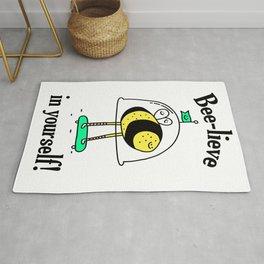 Believe in yourself - bee t-shirt, cute bee, happy bee, beelieve in yourself, pun t-shirt Rug