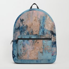 Sunbeam: a pretty abstract painting in pink, blue, and gold by Alyssa Hamilton Art Backpack