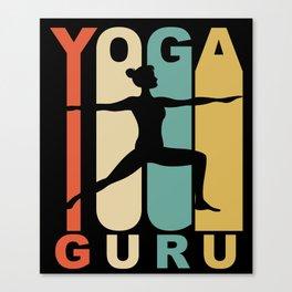 Vintage Style Yoga Guru Warrior Two Yoga Pose Retro Canvas Print