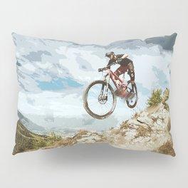 Flying Downhill on a Mountain Bike Pillow Sham