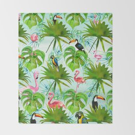 Tropical green pink colorful birds watercolor floral Throw Blanket