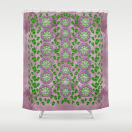 ivy and  holm-oak with fantasy meditative orchid flowers Shower Curtain