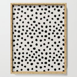 Preppy brushstroke free polka dots black and white spots dots dalmation animal spots design minimal Serving Tray