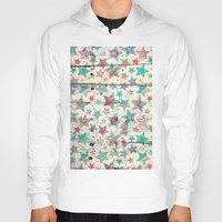 shabby chic Hoodies featuring Grunge Stars on Shabby Chic White Painted Wood by micklyn