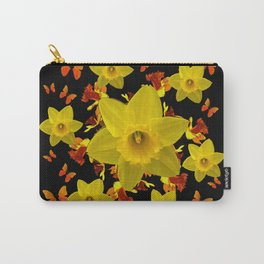 Decorative Black Design Butterflies Yellow Daffodils Carry-All Pouch